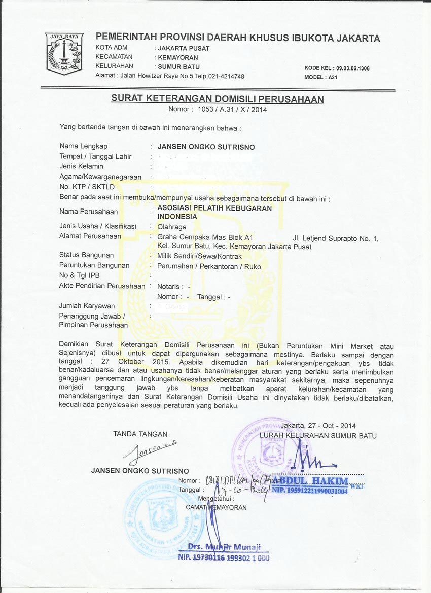 Sk Domisili Perusahaan Ok Indonesia Fitness Trainer